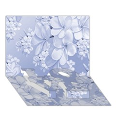 Delicate Floral Pattern,blue  LOVE Bottom 3D Greeting Card (7x5)