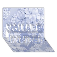 Delicate Floral Pattern,blue  You Are Invited 3d Greeting Card (7x5)