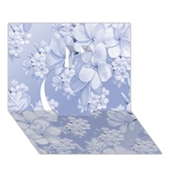 Delicate Floral Pattern,blue  Apple 3d Greeting Card (7x5)