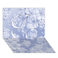 Delicate Floral Pattern,blue  Clover 3d Greeting Card (7x5)