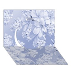 Delicate Floral Pattern,blue  Circle 3d Greeting Card (7x5)
