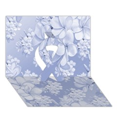 Delicate Floral Pattern,blue  Ribbon 3d Greeting Card (7x5)