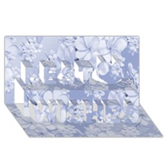 Delicate Floral Pattern,blue  Best Wish 3d Greeting Card (8x4)