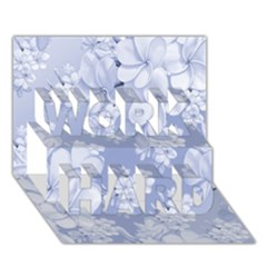 Delicate Floral Pattern,blue  WORK HARD 3D Greeting Card (7x5)