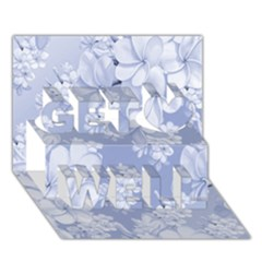 Delicate Floral Pattern,blue  Get Well 3d Greeting Card (7x5)