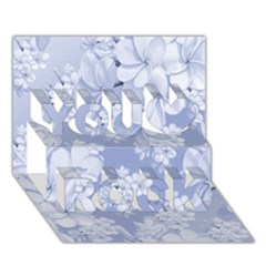 Delicate Floral Pattern,blue  You Rock 3D Greeting Card (7x5)