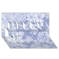Delicate Floral Pattern,blue  Merry Xmas 3d Greeting Card (8x4)