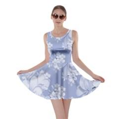 Delicate Floral Pattern,blue  Skater Dresses