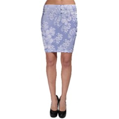 Delicate Floral Pattern,blue  Bodycon Skirts