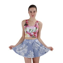 Delicate Floral Pattern,blue  Mini Skirts