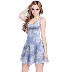 Delicate Floral Pattern,blue  Reversible Sleeveless Dresses