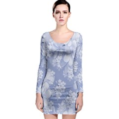 Delicate Floral Pattern,blue  Long Sleeve Bodycon Dresses