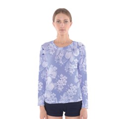 Delicate Floral Pattern,blue  Women s Long Sleeve T-shirts