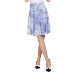 Delicate Floral Pattern,blue  A-Line Skirts