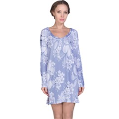 Delicate Floral Pattern,blue  Long Sleeve Nightdresses