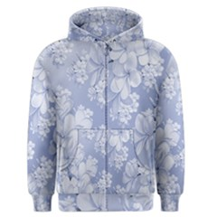 Delicate Floral Pattern,blue  Men s Zipper Hoodies