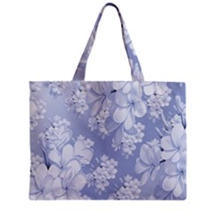 Delicate Floral Pattern,blue  Zipper Tiny Tote Bags