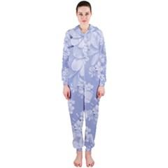 Delicate Floral Pattern,blue  Hooded Jumpsuit (Ladies)