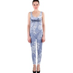 Delicate Floral Pattern,blue  Onepiece Catsuits