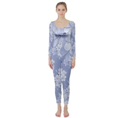 Delicate Floral Pattern,blue  Long Sleeve Catsuit