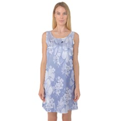 Delicate Floral Pattern,blue  Sleeveless Satin Nightdresses