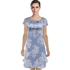 Delicate Floral Pattern,blue  Cap Sleeve Nightdresses