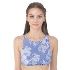 Delicate Floral Pattern,blue  Tank Bikini Top