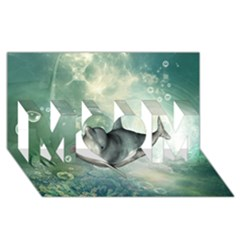 Funny Dswimming Dolphin Mom 3d Greeting Card (8x4)