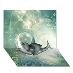 Funny Dswimming Dolphin Apple 3d Greeting Card (7x5)