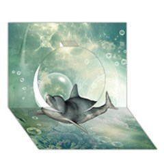 Funny Dswimming Dolphin Circle 3D Greeting Card (7x5)