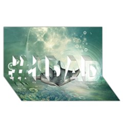 Funny Dswimming Dolphin #1 DAD 3D Greeting Card (8x4)