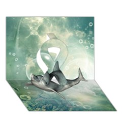 Funny Dswimming Dolphin Ribbon 3D Greeting Card (7x5)