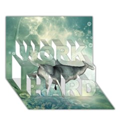 Funny Dswimming Dolphin Work Hard 3d Greeting Card (7x5)