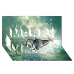Funny Dswimming Dolphin Merry Xmas 3d Greeting Card (8x4)