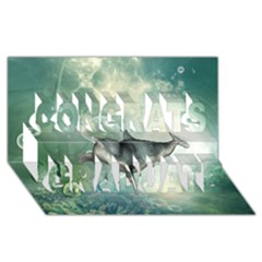 Funny Dswimming Dolphin Congrats Graduate 3D Greeting Card (8x4)