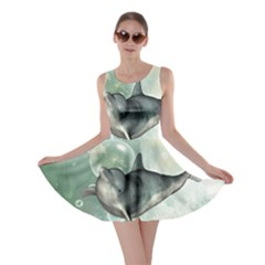 Funny Dswimming Dolphin Skater Dresses