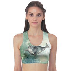 Funny Dswimming Dolphin Sports Bra