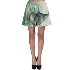 Funny Dswimming Dolphin Skater Skirts
