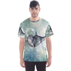 Funny Dswimming Dolphin Men s Sport Mesh Tees