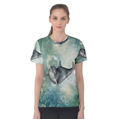 Funny Dswimming Dolphin Women s Cotton Tees