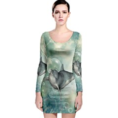 Funny Dswimming Dolphin Long Sleeve Bodycon Dresses