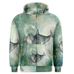 Funny Dswimming Dolphin Men s Zipper Hoodies