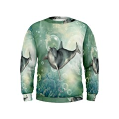Funny Dswimming Dolphin Boys  Sweatshirts