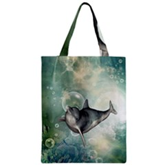 Funny Dswimming Dolphin Zipper Classic Tote Bags