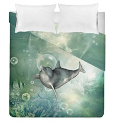 Funny Dswimming Dolphin Duvet Cover (full/queen Size)