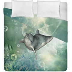 Funny Dswimming Dolphin Duvet Cover (king Size)