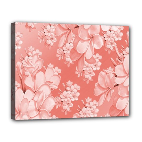 Delicate Floral Pattern,pink  Canvas 14  x 11