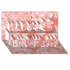 Delicate Floral Pattern,pink  Happy Birthday 3d Greeting Card (8x4)