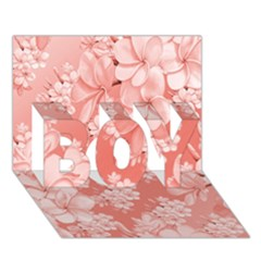 Delicate Floral Pattern,pink  BOY 3D Greeting Card (7x5)