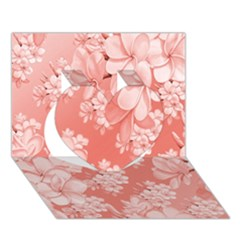 Delicate Floral Pattern,pink  Heart 3D Greeting Card (7x5)